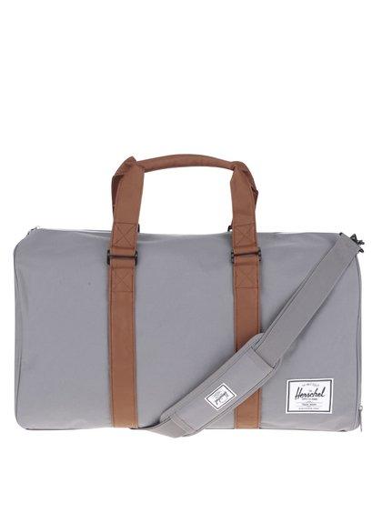 Šedá cestovní taška s hnědými popruhy Herschel Novel 42,5 l