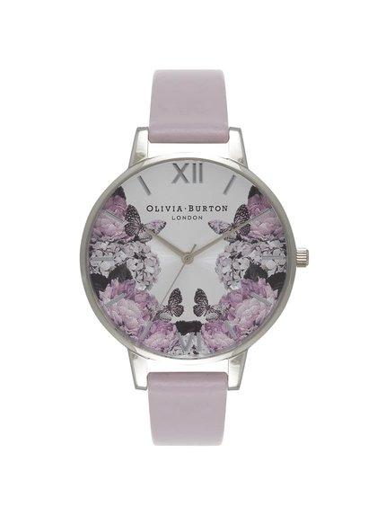 Fialové hodinky s kvetovaným ciferníkom Olivia Burton
