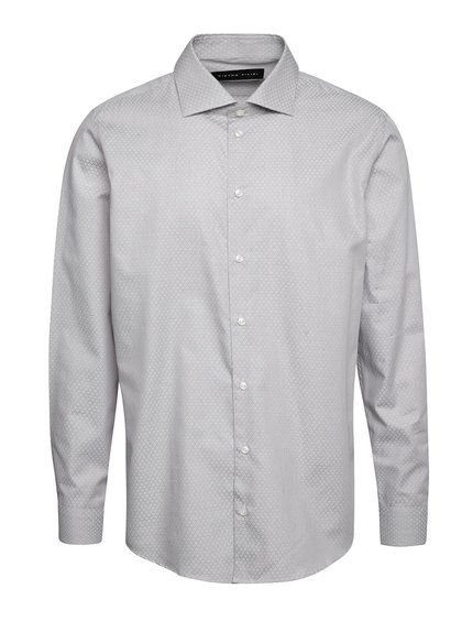 Světle šedá vzorovaná pánská regular fit košile Pietro Filipi