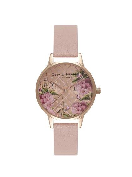 Růžové hodinky s květovaným ciferníkem v růžovozlaté barvě Olivia Burton