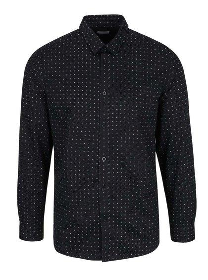 Černá slim fit košile s bílým vzorem Selected Homme Done Newton