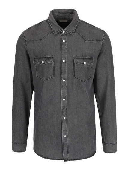 Cămașă gri Selected Homme One Marlon slim fit din denim