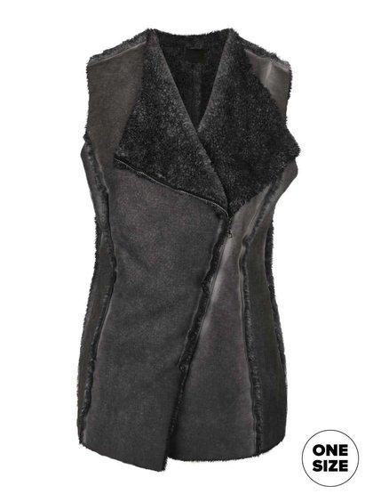 Tmavě šedá vesta z umělé kožešiny na zip ZOOT