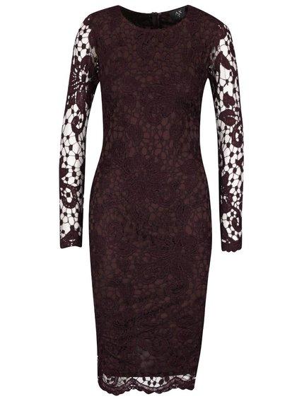Vínové krajkované šaty s dlouhým rukávem AX Paris
