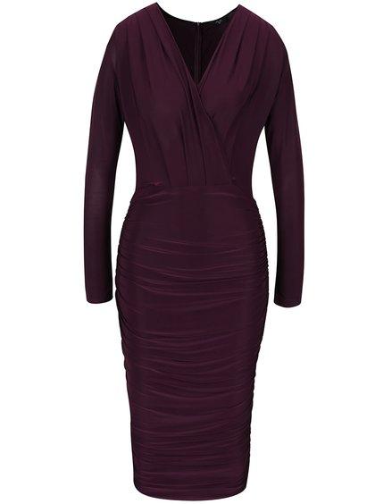 Fialové šaty s překládaným výstřihem AX Paris