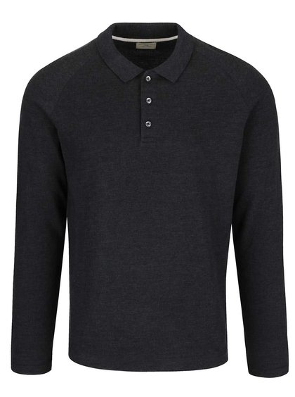 Tmavě šedé triko s dlouhým rukávem a límečkem Selected Homme Casual