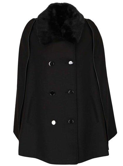Čierny kabát s golierom z umelého kožúška Dorothy Perkins