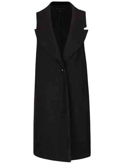 Černá dlouhá vesta s umělým kožíškem Dorothy Perkins