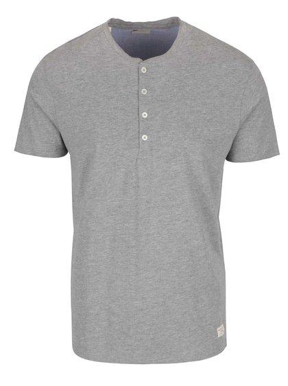Světle šedé triko s knoflíky Selected Homme Niklas