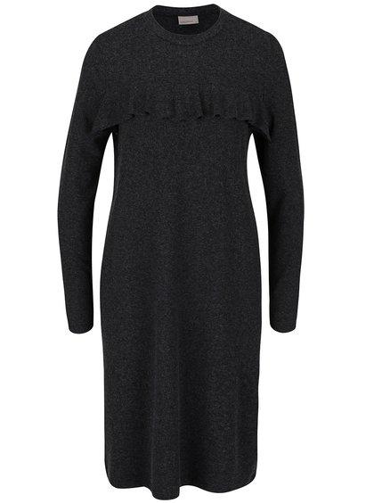 Tmavě šedé šaty s volánkem Vero Moda Tammi