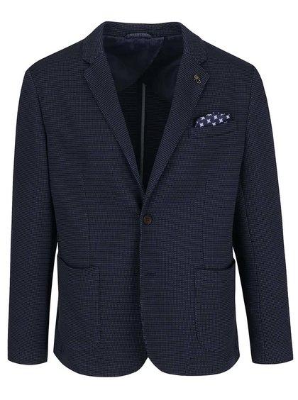 Tmavě modré neformální vzorované sako s detaily Selected Homme Done Allen