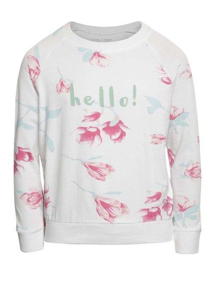 Bílé holčičí tričko s dlouhým rukávem a potiskem květin 5.10.15.