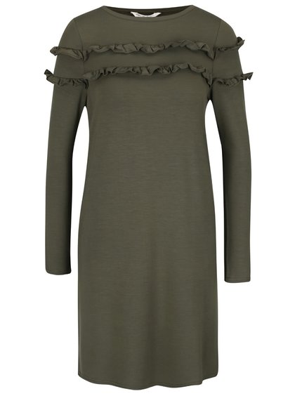 Khaki šaty s volánky Miss Selfridge