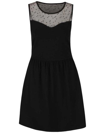 Černé šaty s průsvitnými detaily v dekoltu a na zádech ONLY Niella I.