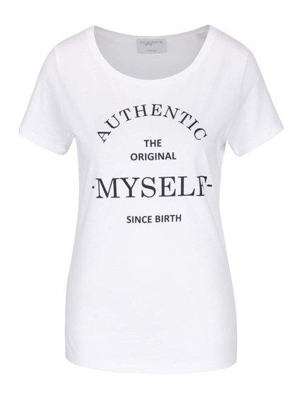 Biele tričko s krátkym rukávom a potlačou Jana Minaříková Original Myself