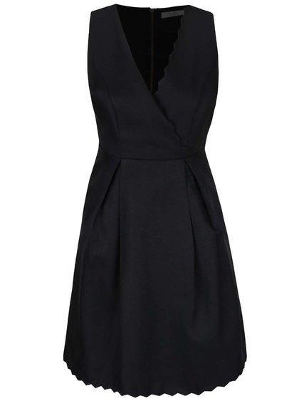 Černé šaty s překládaným ozdobným výstřihem Darling Blanche