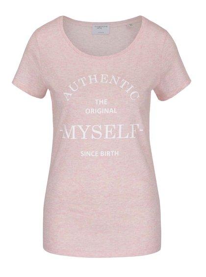 Světle růžové žíhané tričko s krátkým rukávem a potiskem Jana Minaříková Original Myself