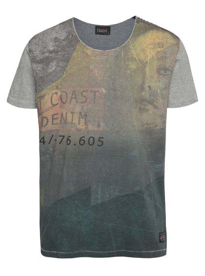 Šedo-zelené triko s krátkým rukávem !Solid Deniz