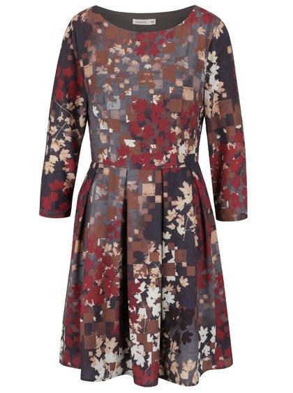 Šedo-červené šaty s 3/4 rukávem Lavand