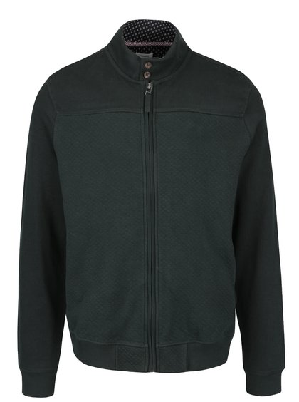 Tmavě zelená mikina na zip s prošívaným vzorem Burton Menswear London