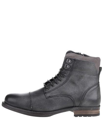 Tmavosivé kožené členkové topánky Burton Menswear London Pager