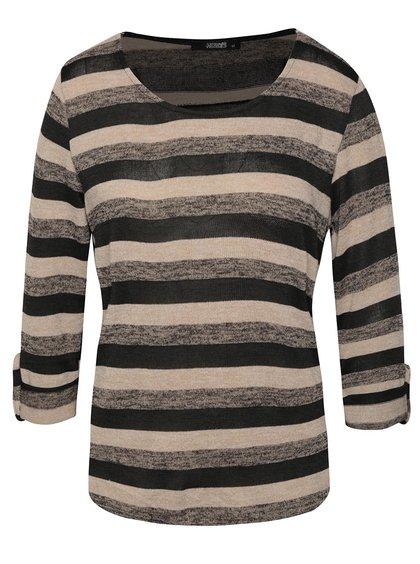 Černo-béžové pruhované tričko s 3/4 rukávy Haily´s Lilly