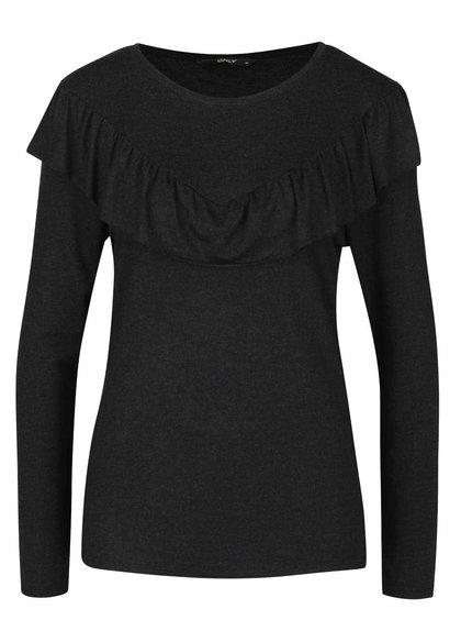 Černé tričko s volánkem ONLY Flounces
