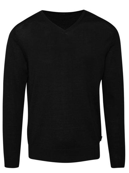 Čierny pánsky tenší sveter z merino vlny Pietro Filipi