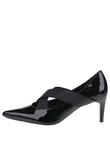Pantofi negri Högl din piele cu barete elastice și aspect lucios