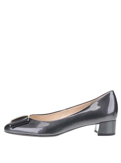 Pantofi negri Högl din piele cu aspect lucios și detaliu auriu