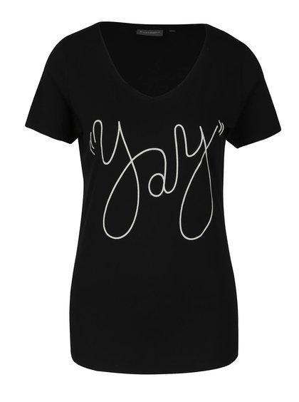 Černé dámské tričko s krátkým rukávem a potiskem Broadway Betty