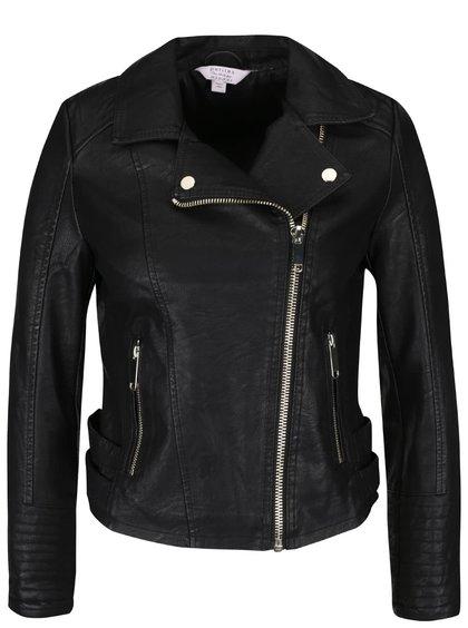 Jachetă neagră din imitație de piele Miss Selfridge Petites