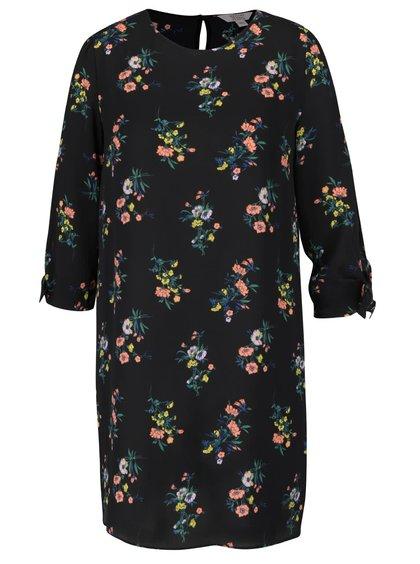 Rochie neagră cu imprimeu floral și mâneci trei sferturi Miss Selfridge Petites