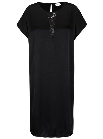 Černé šaty s krajkou v dekoltu VILA Klika