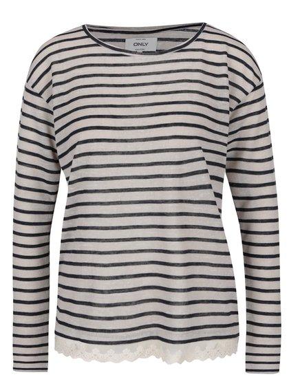 Modro-šedé pruhované tričko s krajkou ONLY Gina