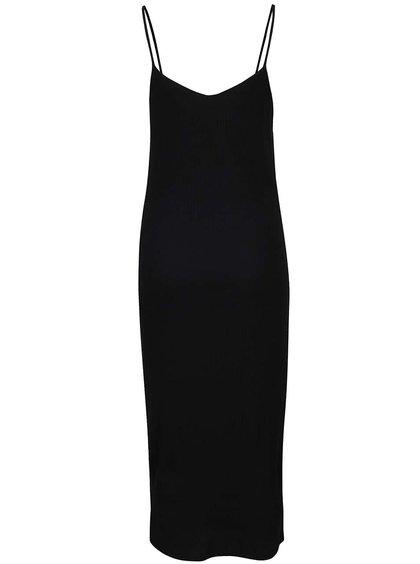 Černé žebrované šaty s bílými pruhy na bocích ONLY Ilva