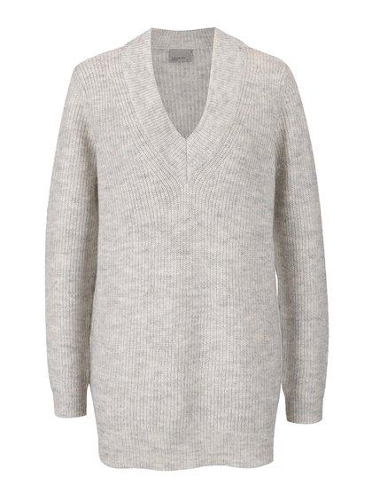 Krémový žíhaný svetr s véčkovým výstřihem VERO MODA Miriam