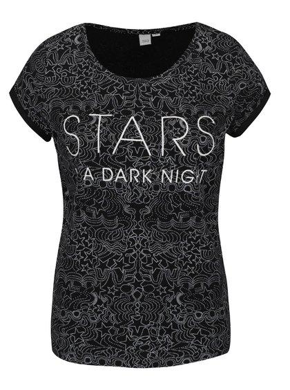 Černé dámské vzorované tričko s nápisem QS by s. Oliver