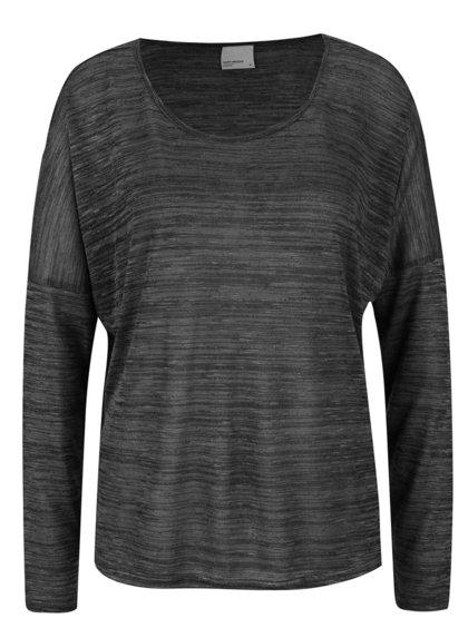 Tmavě šedé žíhané tričko VERO MODA Sabisanne