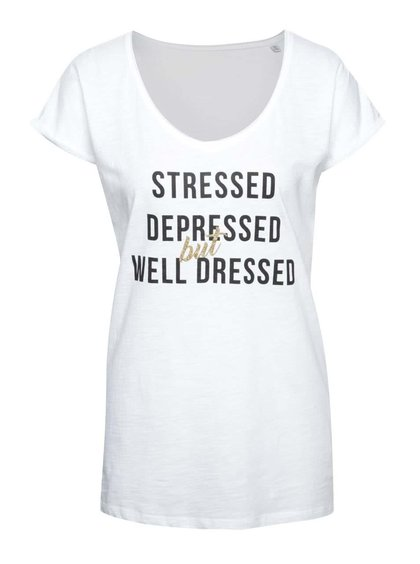 Tricou alb ZOOT Original Stressed, depressed but well dressed