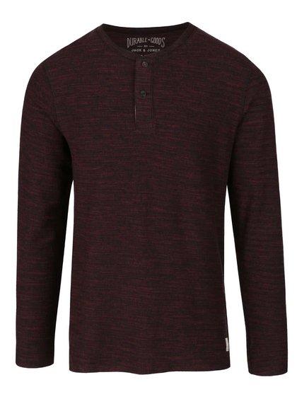 Černo-vínové žíhané triko s knoflíky a dlouhým rukávem Jack & Jones Sebastian