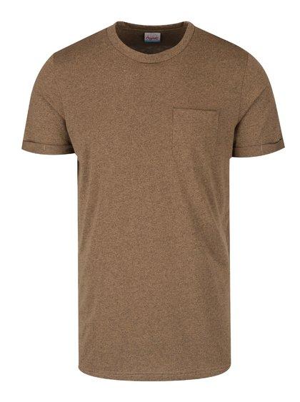 Hnědé žíhané triko s kapsou a krátkým rukávem Jack & Jones Design