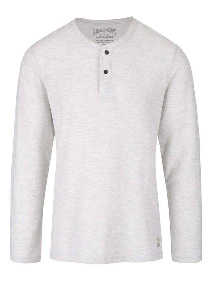 Krémové žíhané triko s knoflíky a dlouhým rukávem Jack & Jones Sebastian
