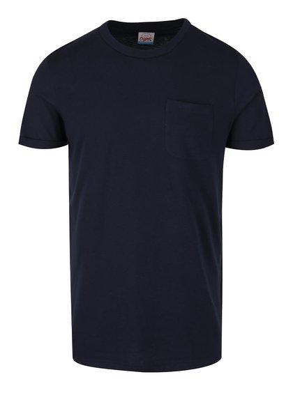 Tricou albastru închis Jack & Jones Design cu buzunar