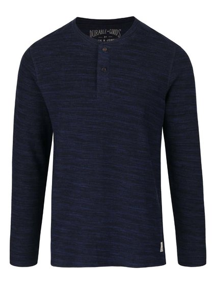 Modré žíhané triko s knoflíky a dlouhým rukávem Jack & Jones Sebastian