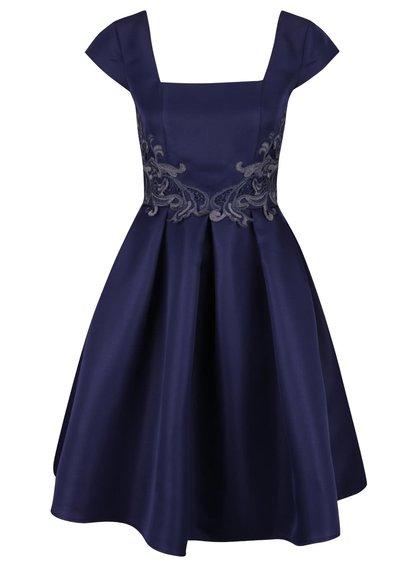 Tmavě modré šaty s nášivkou a kolovou sukní Little Mistress