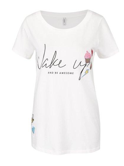 Krémové volnější tričko s nápisem a nášivkami ONLY Kita