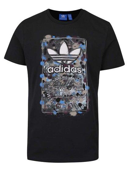 Černé pánské triko s barevným potiskem adidas Originals