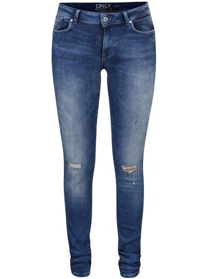 Jeanși skinny albaștri  ONLY Carmen cu aspect uzat