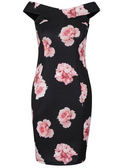Černé květované šaty s lodičkovým výstřihem Dorothy Perkins Petite